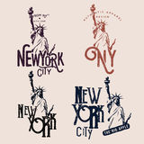 New York themed badges. T-shirt prints / apparel designs. Labels with Statue of Liberty Royalty Free Stock Photos