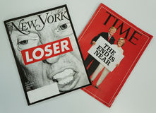 New York and Time magazines issued before 2016 Presidential election on display Royalty Free Stock Photography