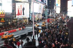 New York Time Square na noite fotos de stock royalty free