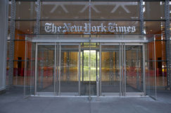 New York Times. Entrance of the New York Times headquarters building Stock Photography
