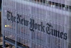 The New york times Journal Building, street view Manhattan, New York city, USA Royalty Free Stock Images