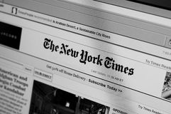 New York Times main page. This photograph a computer screen displays the homepage of New York Times. The New York Times is an American daily newspaper founded royalty free stock photos
