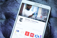 New York Times mobiele app stock foto's