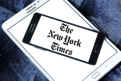 The New York Times newspaper logo. Logo of The New York Times newspaper on samsung mobile. The New York Times is an American newspaper based in New York City stock image
