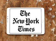 The New York Times newspaper logo. Logo of The New York Times newspaper on samsung tablet. The New York Times is an American newspaper based in New York City stock photography