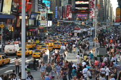New York Times Square Crowd. Crowded New York Times Square in the Summer royalty free stock photos