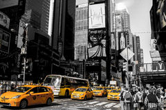 New York Times Square. Manhattan Times Square city in black and white, with taxi cabs in yellow. Postal Card. 42nd street stock image