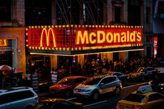 New York Times Square McDonalds. McDonalds fast food restaurant in Times Square, New York City. NYC is a popular travel destination for people on vacation or stock photo
