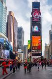 New York, Times Square. Scyscrapers, colorful neon lights, ads and people. USA, New York, Times Square. May 2, 2019. High modern buildings, colorful neon lights stock photo
