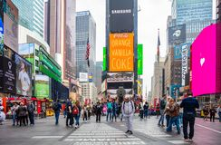 New York, Times Square. Scyscrapers, colorful neon lights, ads and people. USA, New York, Times Square. May 2, 2019. High modern buildings, colorful neon lights royalty free stock photos