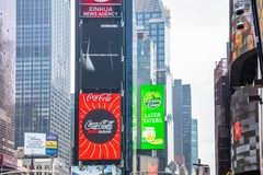 New York, Times Square. Scyscrapers, colorful neon lights and ads. USA, New York, Times Square. May 2, 2019. High modern buildings, colorful neon lights, large stock images