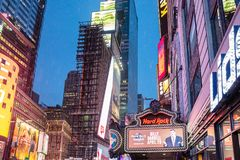 New York, Times Square. Scyscrapers, colorful neon lights and ads. USA, New York, Times Square. May 3, 2019. High modern buildings, colorful neon lights, large stock photo