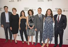 Filmmakers and New York Times Stars at the 2018 Tribeca Film Festival. New York Times stars Mark Mazzetti, Elisabeth Bumiller, Julie Davis, and Dean Baquet pose royalty free stock photos