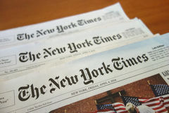 The New York Times. Three copies of The New York Times from April 4th, 2014 royalty free stock image