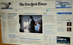 The New York Times website. The New York Times is an American daily newspaper founded, and continuously published in New York City, since 1851. The Times has won Royalty Free Stock Photo