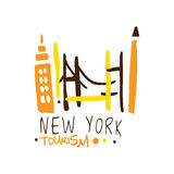 New York tourism logo template hand drawn vector Illustration Stock Photography