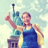 New York tourist fun in front of Statue of Liberty Royalty Free Stock Photography