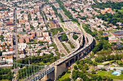 New York traffic congestion. An aerial view of traffic congestion at a series of under and over passes on an approach to a major highway bridge in New York City Royalty Free Stock Image