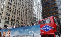 New york travel red bus stock photo