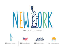New York travel set, Statue of Liberty. Typography Stock Photo