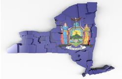 New York Tribute. 3D rendered map of state with flag blended in Stock Photo