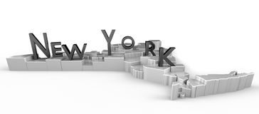New York Tribute. 3D rendered map with logo Royalty Free Stock Photos