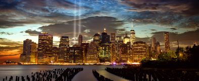 New York with Tribute in Light. New York City Manhattan skyline panorama with Tribute in Light Stock Photos
