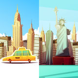 New York Two Vertical Banners Stock Photos
