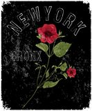 New york typography with floral illustration. T shirt graphic . Vectors arts Royalty Free Stock Photography