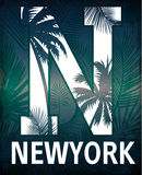 New york typography with floral illustration. T shirt graphic . Stock Photo