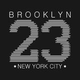 New York typography graphics. Brooklyn print for number t-shirt, design of athletic clothes. Stamp for sport original apparel. Vector illustration Stock Photography