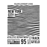 New York typography for t-shirt print. Abstract lines with text for modern tee shirt graphics in varsity style. Vector royalty free illustration