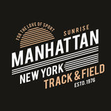 New York typography for t-shirt print. Track and field, athletic t-shirt graphics. Vector Stock Photo