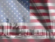 New York und amerikanische Flagge Stockfotos