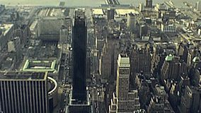 Empire State Building view. New York, United States of America - circa 1981: archival aerial view from top of Empire State Building. Macy`s building, Rockefeller stock video footage