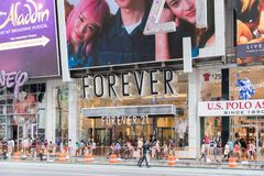 Forever 21 clothing store in New York city. New York, United States, August 18, 2018:Forever 21 clothing store in New York city. Summer sale season, view of royalty free stock image