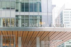 Logo of Bank of America in modern office building in New York. royalty free stock images