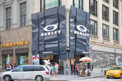 The Oakley store in New York. New York, United States, August 18, 2018:The Oakley store in New York. Oakley currently holds more than 600 patents for eyewear Royalty Free Stock Images