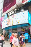 Sign of AT&T posted in New York city, Times Square. New York, United States, August 18, 2018: Sign of AT&T posted in New York city, Times Square Stock Photography