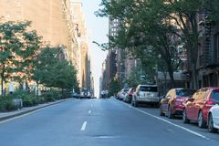 New York City street road in Manhattan at summer time. royalty free stock images