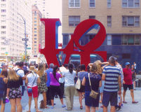 New York, United States - July 8, 2106 - Tourists taking photos to love sculture in New York Stock Image
