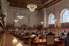 Interior of New York Public Library Main Branch in Manhattan, NYC. New York, United States - May 12, 2018 : Interior of New York Public Library Main Branch in stock image