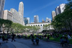View of Bryant Park in New York City, NY. stock image