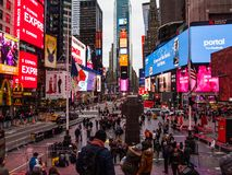 New York, United States - Tourists in Time. New York, United States - November, 27 - 2018 - Tourists in Times Square stock photo