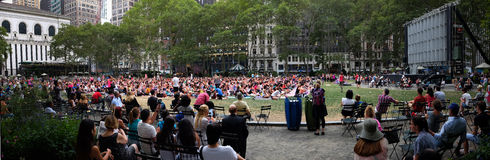 New York University. Yoga in Bryant park in New York royalty free stock photography