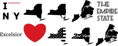 New york US map and the heart symbol royalty free illustration