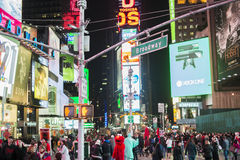 NEW YORK, US - NOVEMBER 22: Busy Times Square at night. November Royalty Free Stock Image