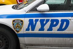 NEW YORK, US - NOVEMBER 22: Detail of door of New York Police ca Stock Image