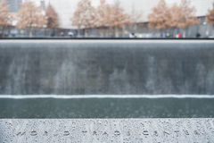 NEW YORK, US - NOVEMBER 22: Detail of 9/11 memorial memorial com Stock Photography