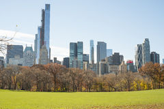 NEW YORK, US - NOVEMBER 23: Manhattan skyline with Central Park Royalty Free Stock Photography